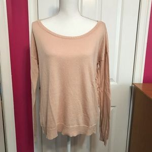 American Eagle Outfitters Pink Lace Back Sweater